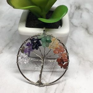 Jewelry - Gemstone Tree Of Life Silver Wire Wrap Pendant